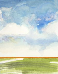 Miniature watercolor cloudscape no. 1 by Jake Marshall. © 2014