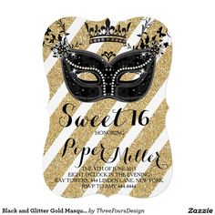 Black And Glitter Gold Masquerade Sweet 16 Invitation