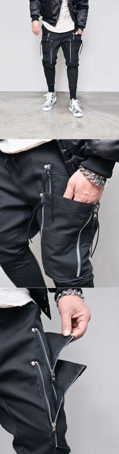Double Zip Taping Cargo Jogger-Sweatpants 329 - GUYLOOK