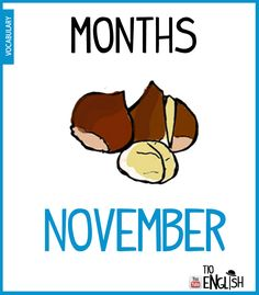 November, months in English. English Study, English Words, English Lessons, Learn English, Name Of Months, Months In A Year, Vocabulary Words, English Vocabulary, Months In English