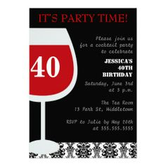 red cocktail 40th birthday party invitations