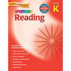 Items By Brand Name | Carson-Dellosa Publishing | Spectrum Workbooks | Reading | Spectrum® Reading Workbook, Grade K | The Chalkboard Educational Materials and Classroom Supplies