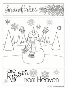 Snowflakes Are Kisses From Heaven Coloring Page By Jackieindesign Christmas