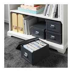 """IKEA - FJÄLLA, Box with lid, light green/spotted, 8 ¾x10 ¼x6 ¼ """", , Suitable for storing chargers, remote controls, USB drives, and desk accessories.Easy to pull out as the box has a handle.The label holder helps you organize and find your things."""
