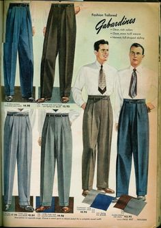 1949 Sears Fall/Winter Catalog - Men's style 1950s Fashion Menswear, 1940s Fashion, Look Fashion, Vintage Fashion, 1950s Mens Fashion Casual, 1920s Fashion Male, Fashion Suits, Vintage Pants, Vintage Men