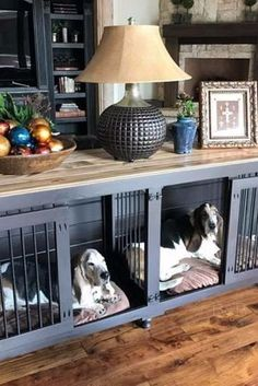 Dogs Pet Furniture can be functional and beautiful. No need to hide wire kennels in your house anymore! - Wooden dog kennels built for one and two dogs for indoor use. Check out our designer dog crate furniture and great dane kennels! Dog Crate Sizes, Diy Dog Crate, Wood Dog Crate, Puppy Crate, Wooden Dog Kennels, Pet Kennels, Diy Dog Kennel, Dog Crate Furniture, Furniture Dog Kennel