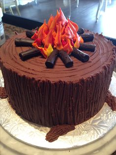 Campfire cake decorated with butter cream icing.(Cake Ideas For Men) Cakes To Make, Cakes For Boys, Fancy Cakes, How To Make Cake, Camping Birthday Cake, Camping Cakes, Birthday Cake Girls, Fathers Birthday Cake, Birthday Ideas