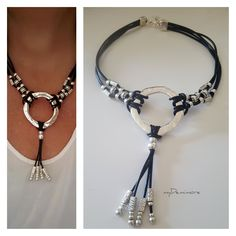leather choker, endless Ring, Tassel leather necklace, girlfriend, beaded, uno de 50 Style, Statement, gift for her, gift ideas, girlfriend