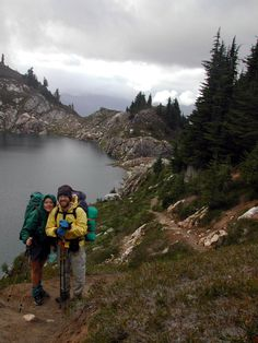 With a friend on a rainy day in Washington State on the Pacific Crest Trail.
