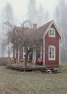 awesome Little Red Cottage.- awesome Little Red Cottage…♥… by www.danazhome-dec… awesome Little Red Cottage…♥… by www. Little Cottages, Small Cottages, Cabins And Cottages, Small Cabins, Cute Cottage, Red Cottage, Cottage Homes, Rustic Cottage, Garden Cottage