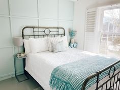 Modern coastal guest bedroom makeover featuring Headspace by Clare.