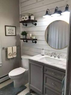 Bathroom Renos, Bathroom Interior, Master Bathroom, Bathroom Renovations, Budget Bathroom, Basement Bathroom Ideas, Half Bathroom Remodel, Shiplap Wall In Bathroom, Dyi Bathroom