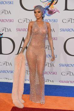Rihanna basically showed up naked to the CFDA Awards. Yep, that happened