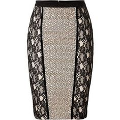 See this and similar Blumarine knee length skirts - Contemporary peek-a-boo lace paneling lends a sultry look to this figure-hugging pencil skirt from Blumarine. Skirt Outfits, Dress Skirt, African Fashion Skirts, Cute Skirts, Work Attire, Mode Style, Refashion, Fashion Outfits, Womens Fashion