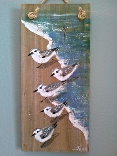 Sanderlings art - beach painting - beach house - reclaimed wood - plaque - sandpipers - coastal decor - vertical wall art