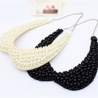 1pcs 2014 New Fashion,Trendy Jewelry For Women,Black And White Base,Peter Pan Style,False Beaded Pearl Collars Necklaces,$3.09 / piece