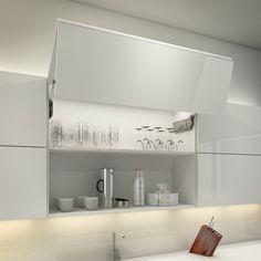 Illuminated bifold wall cabinet using intergrated LED lighting with automated lighting sensor.