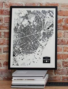 Verkauf Gebäude in Barcelona Stadt Landkarte drucken von CityFabric