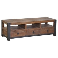 Reclaimed pine wood coffee table with 3 open cubbies and 3 drawers.   Product: Coffee tableConstruction Material: