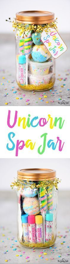 This Unicorn Spa Jar is for the girly girls is your life who love all things sparkly and colorful. They can use the fun gift in a jar to have a spa day. These mason jars would be perfect for a girls birthday party or give as a Christmas gift.