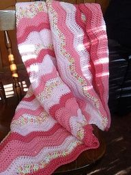 Free crochet blanket patern-pretty colors for a baby girl