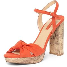 Dorothy Perkins Coral 'Siri' Knot Cork Sandals ($55) ❤ liked on Polyvore featuring shoes, sandals, coral, strappy sandals, strappy high heel sandals, cork platform shoes, high heel sandals and coral shoes