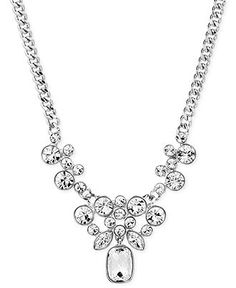 Givenchy Silver-Tone Crystal Cluster Frontal Necklace - Jewelry & Watches - Macy's