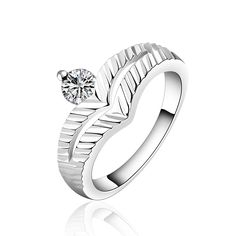 Top quality Silver Plated & Stamped 925 For Women small crown link big stone ring for girls wedding Finger Rings Wholesale