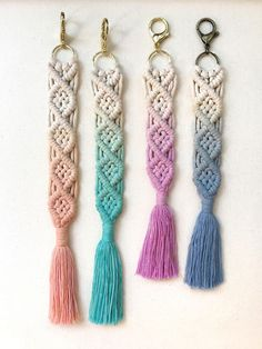 Listing for handmade macrame keychain dip dyed ombré. Each piece is OOAK. Due to the nature of the dip dye process you may see variations in each piece :) made with love and attention to detail! Medium size: $12.00 - 11 (including clasp) Large size: $15.00 - 13 (including clasp) If youd like a different colored clasp (gold/silver/antique bronze) please convo me and I can make a custom one for you! :)
