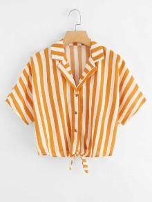 Shop Knot Hem Striped Shirt at ROMWE, discover more fashion styles online. Orange Mode, Teen Fashion, Fashion Outfits, Fashion Top, Fall Fashion, Fashion Trends, Casual Outfits, Cute Outfits, Vetement Fashion