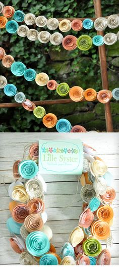 DIY idea :: Orange, Coral, Teal & Recycled Book Page Paper Flower Garland