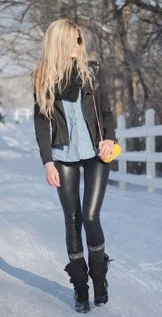 leather leggings, denim, and black jacket. For myself, I'd change out to skinnier instead of leather leggings Mode Outfits, Fall Outfits, Fashion Outfits, Womens Fashion, Sexy Winter Outfits, Summer Outfits, Winter Clothes, Summer Clothes, Fall Dresses