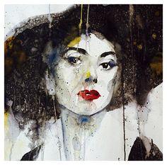 Portræt af Maria Callas, 50 x 50 centimeter - akvarel