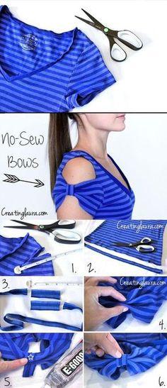 No Sew T-Shirt Bow Sleeves | Cute DIY Top for Girls Tutorial by DIY Ready at diyready.com/diy-clothes-sewing-blouses-tutorial/