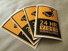 4 vinyl stickers CCTV decals security camera stickers sign for cafe office home Security Camera, Porsche Logo, Vinyl Decals, Sign, Stickers, Vehicles, Backup Camera, Spy Cam, Signs