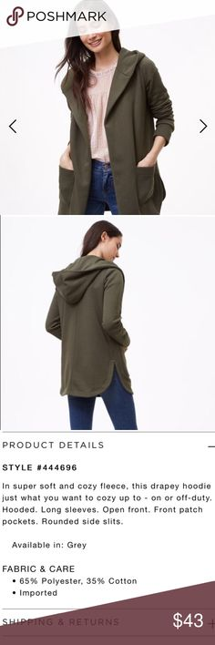 LOFT Olive Soft Cardigan So so so soft!   Olive green color Has pockets! LOFT Sweaters