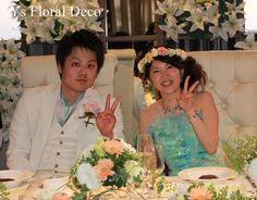hk00265  水色のドレスに合わせるミックスカラーの花冠  ys floral deco  @東京ベイ舞浜ホテル