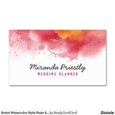 Artist Watercolor Style Paint Splatter Chic Business Card