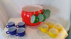 Retro Mid Century Punch bowl set with 12 cups, 60's & 70's Bar Ware, Vintage Punch Bowl Set, Orange Blue Green and Yellow, Glass Punch Set by Vintagepetalpushers on Etsy