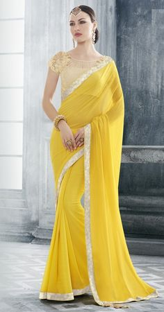 Price @2085.00 INR  Colour : Yellow Saree Fabric :  Georgette   Blouse Fabric :  Fancy Blouse            Work :  Heavy Embroidery