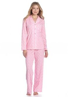Kim Rogers® Notch Collar Dot Pajama Set -  - Show your Pink Pride to help raise Breast Cancer Awareness - Pink is our Passion
