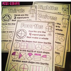 Fractions worksheets to teach halves fourths thirds and a lot of other great fractions activities and ideas Teaching Fractions, Fractions Worksheets, Math Fractions, Teaching Math, Dividing Fractions, Equivalent Fractions, Multiplication, Teaching Ideas, Primary Teaching