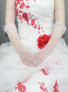 Material: Lace Length Style: Elbow Length Style: Party/ Evening Gloves, Bridal Gloves, Fashion & Formal (Dress) Features: Fingerless Shown Color: As the picture Season: four seasons Country of Origin: Made in China Tips: One size fits most