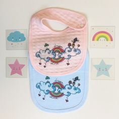 Baby cotton bib - baby girl bib - bib pink - clouds and rainbows illustration - baby shower gift - baby fashion - baby accessories.  There would also be the opportunity to combine a body and a wall decal with the same picture.