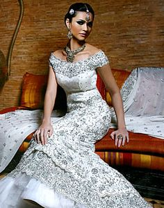 indian wedding white and silver bridal dress