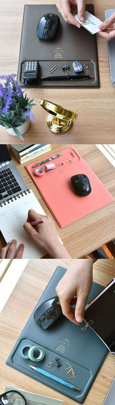 This is a classy addition to any work or study desk! The Leather Tray Mouse Pad is an ingenious mouse pad that may become your next necessity items for your work. This mouse pad has a tray on top to place your frequently used items, like pens, clips, notes, and more. It will give a quick access to your items, and improve your work efficiency! It also has a non-slip bottom to keep it in place when in use.
