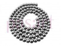 Koraliki szklana perła kula 6mm / szary / otwór 1mm / 140 koralików