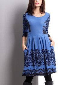 Look what I found on #zulily! Blue Lace-Print Fit & Flare Dress #zulilyfinds