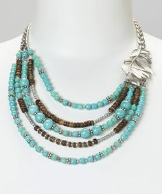 Another great find on #zulily! Silver & Turquoise Multi-Strand Bib Necklace #zulilyfinds