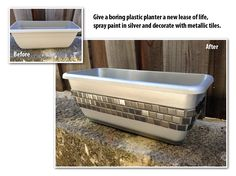 Transform an inexpensive plastic planter, into something that looks more expensive, with the help of silver spray paint and metallic tiles.